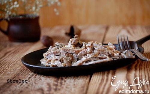 Рецепт Гречневая паста с печенью и карамелизованным луком