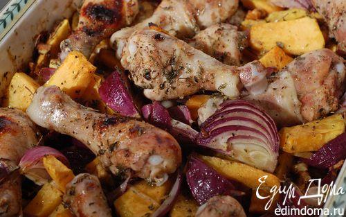 Рецепт Курица с тыквой, луком и грецкими орехами