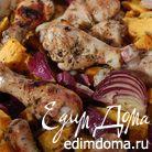 Курица с тыквой, луком и грецкими орехами