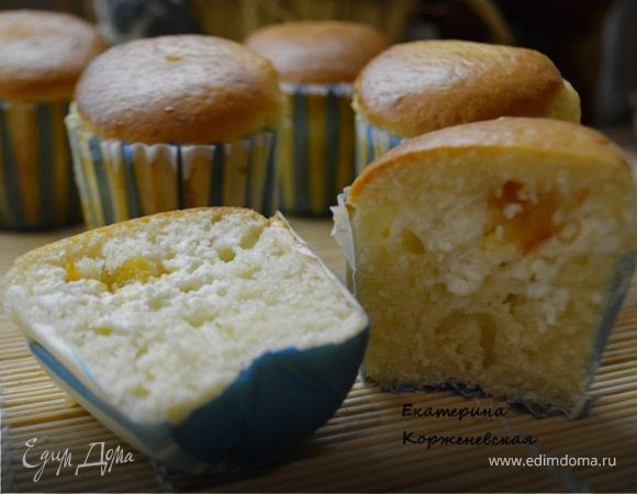 Кексы с творожной начинкой и апельсиновым джемом