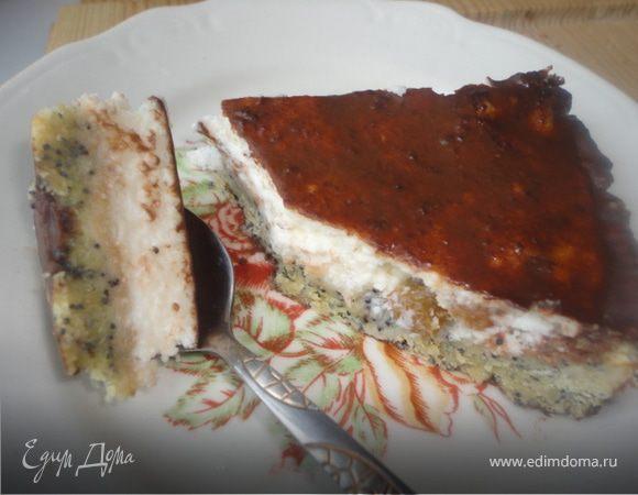 Маковый тарт с творожным суфле и ганашем