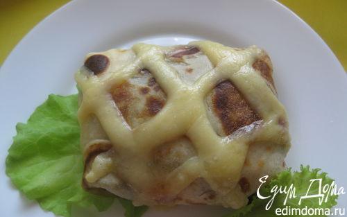 Рецепт Блины в сырную клеточку с начинкой