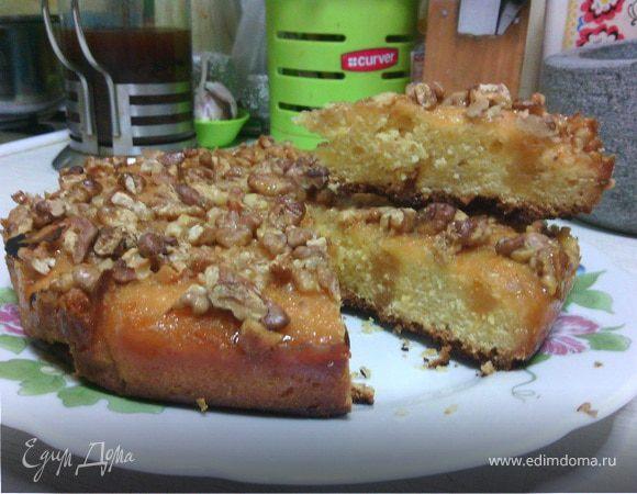 Тыквенный пирог с лимонной заливкой и орехами