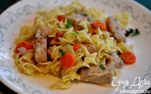 Рецепт Свинина с овощами и яичной лапшой
