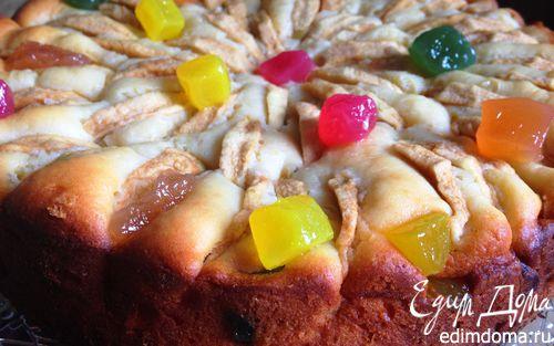 """Рецепт Творожный пирог с яблоками и цукатами """"Весеннее настроение"""""""