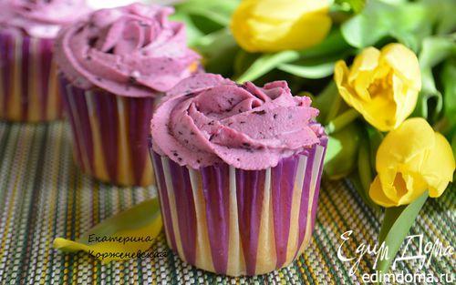 Рецепт Черничные капкейки с творожно-ягодной начинкой