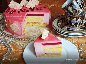 """Клюквенный торт-мусс с миндальным пралине """"Праздничный"""""""