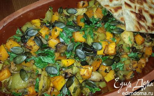 Рецепт Овощной микс с тыквой, сельдереем и грибами