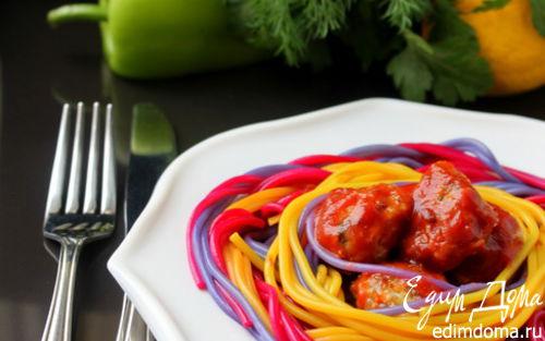 Рецепт Праздничные спагетти с фрикадельками