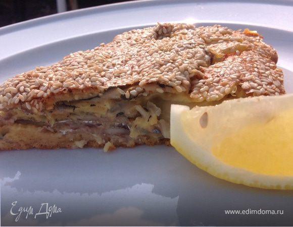 Заливной пирог из свежей тюльки