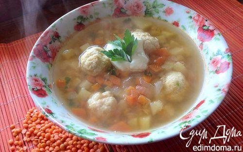 Рецепт Суп с красной чечевицей и куриными фрикадельками