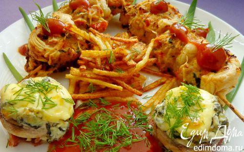 Рецепт Мясные шарики со шпинатом в слоеном тесте с фаршированными шампиньонами