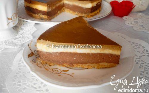 Рецепт Трехслойный кофейно-шоколадный чизкейк
