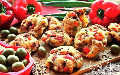 Рецепт Ленивые пиццы-булочки на творожном тесте