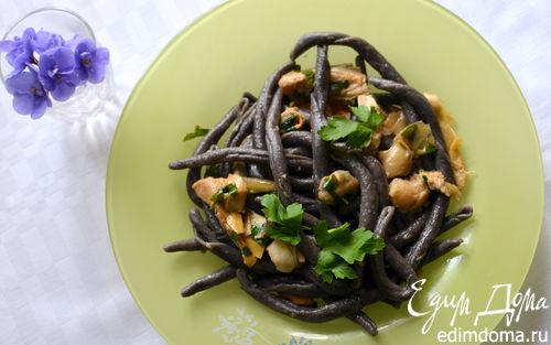 Рецепт Паста с чернилами каракатицы, артишоками и кальмарами