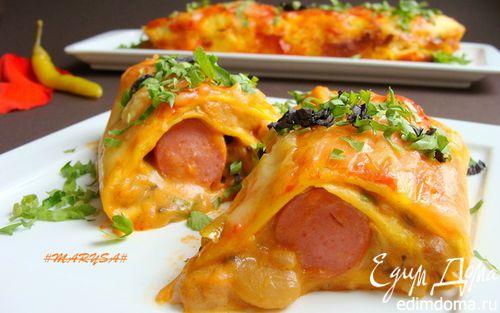 Рецепт Мексиканские лепешки с фасолью, сыром и острым соусом