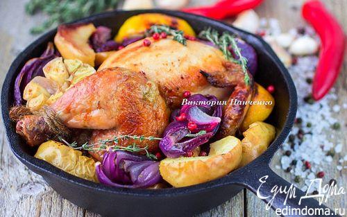 Рецепт Запеченный цыпленок с красным луком, яблоками и лимоном