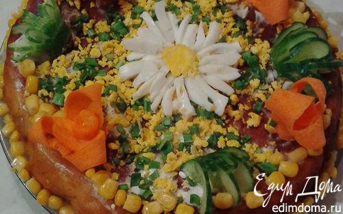 Рецепт Бисквитный пирог с курицей и сладким перцем (без яиц)