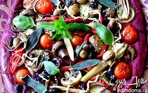Рецепт Пицца из свекольного теста с овощами и грибами