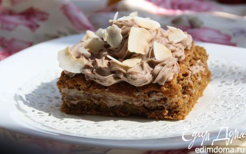 Рецепт Легкий кофейный бисквит с кокосовым муссом
