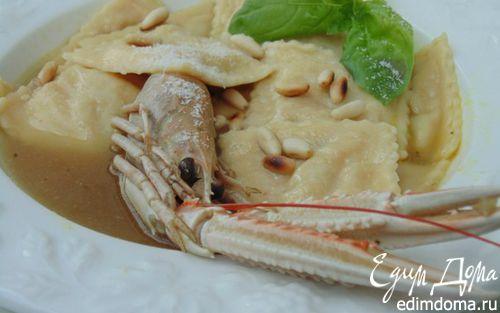 Рецепт Равиоли с лангустинами и цукини в густом бульоне