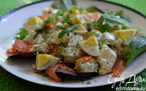 Рецепт Cалат с малосольной семгой и картофелем