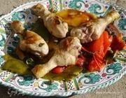 Куриные ножки на гриле со сладким перцем и каперсами