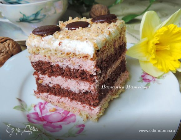 """Комбинированный торт """"Праздничный клубничный"""""""