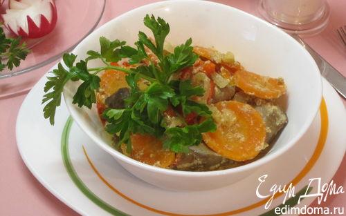 Рецепт Куриная печень с овощами в духовке