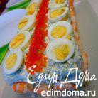 Закусочный торт с лососем и креветками