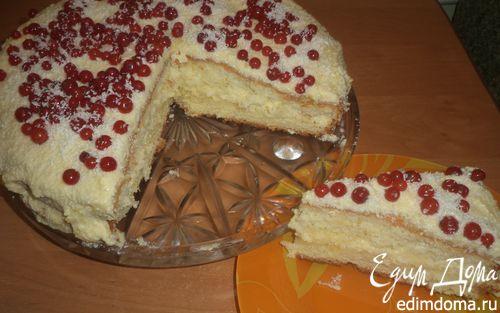 Рецепт Бисквитный торт с лимонной начинкой и заварным кремом
