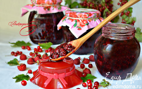 Рецепт Малина в соке красной смородины