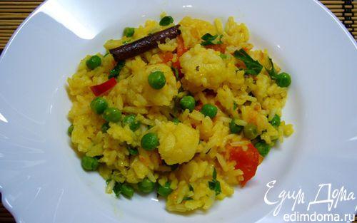 Рецепт Пряный рис с цветной капустой, зеленым горошком и помидорами