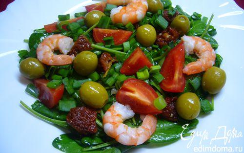 Рецепт Салат из шпината с томатами и креветками