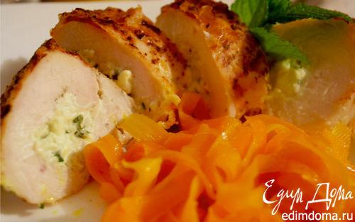 Рецепт Куриные рулетики с творогом, чесноком и травами
