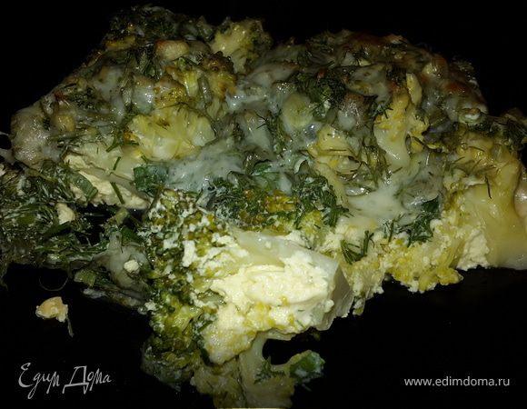 Брокколи, запеченная с сыром и зеленью