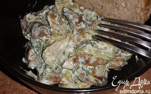 Рецепт Белые грибы, жареные с луком и сметаной