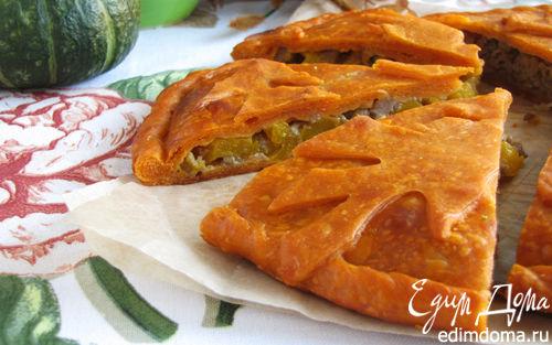 Рецепт Пирог с мясом и тыквой на томатном тесте