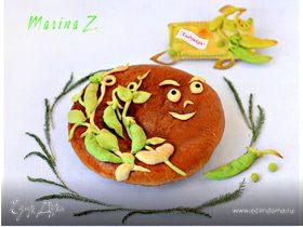 Пирог с нутом, зеленым горохом и зеленью