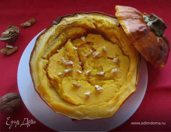 Каша из тыквы в тыквенном горшочке с грецкими орехами