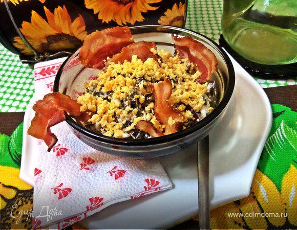 Морской салатик с беконовыми чипсами
