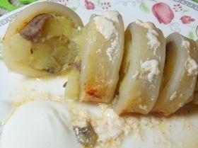 Кальмары, фаршированные картофелем и грибами