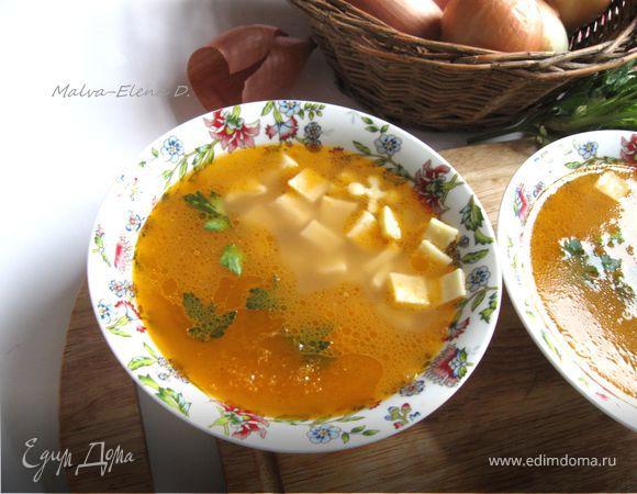 Итальянский овощной суп с пастой и зеленым горошком