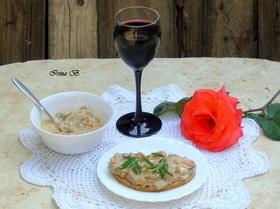 Грибное соте с вином и горгонзолой