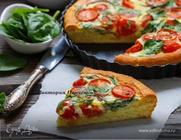 Пирог с помидорами и шпинатом