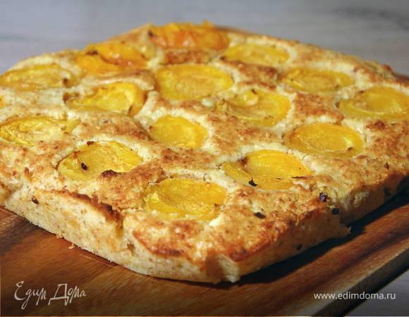 Миндально-творожный пирог с абрикосами