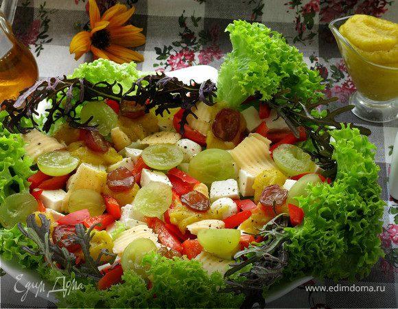 Сырный салат со сладким горчичным майонезом