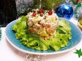 Салат «Новогодний» с красной рыбой