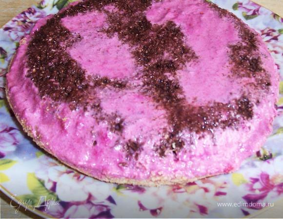 Творожный вишневый десерт с шоколадом