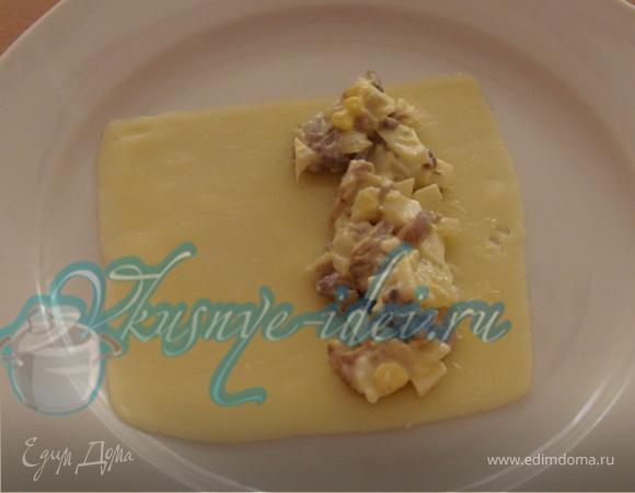 Рулетики из сыра с шампиньонами